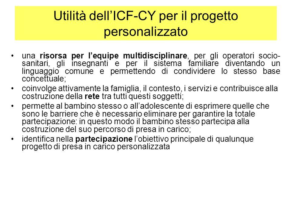 Utilità dell'ICF-CY per il progetto personalizzato