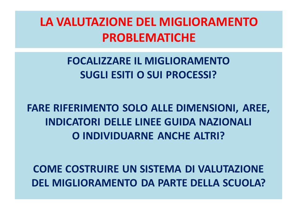 LA VALUTAZIONE DEL MIGLIORAMENTO PROBLEMATICHE