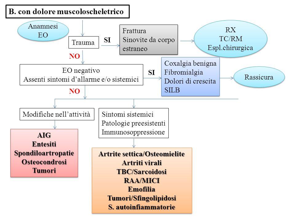 Artrite settica/Osteomielite Tumori/Sfingolipidosi