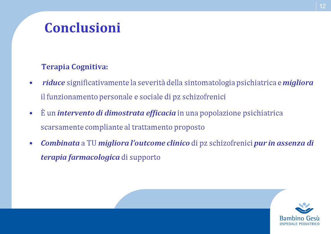 Conclusioni Terapia Cognitiva: