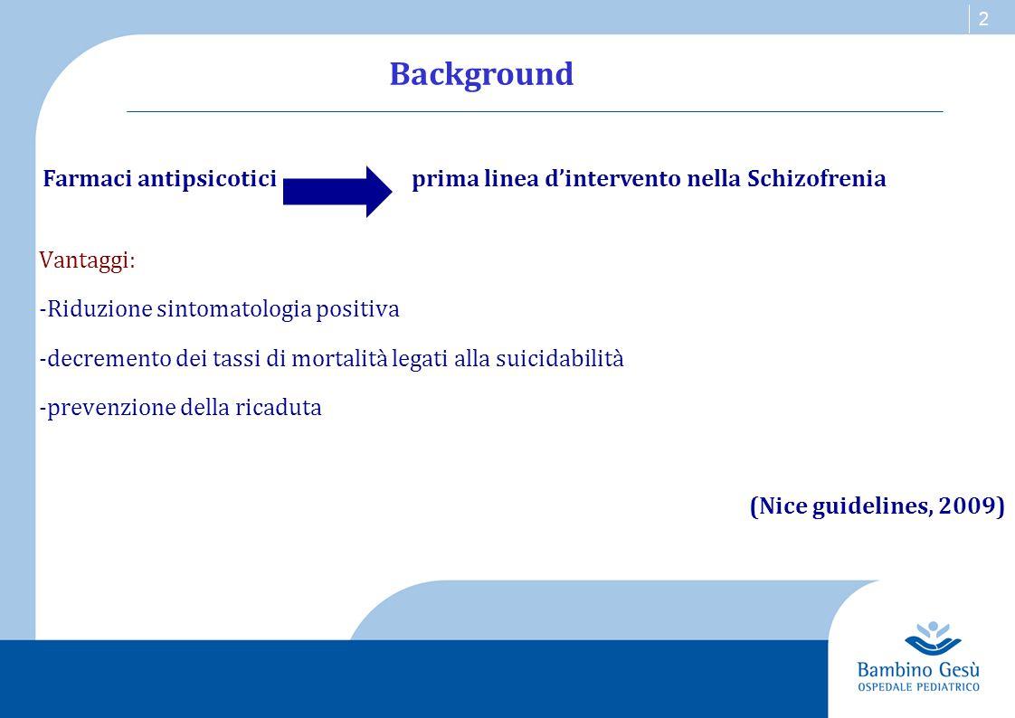 Background Vantaggi: -Riduzione sintomatologia positiva. -decremento dei tassi di mortalità legati alla suicidabilità.