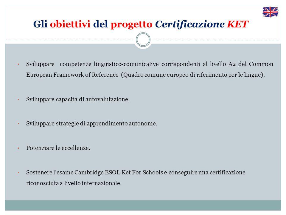 Gli obiettivi del progetto Certificazione KET