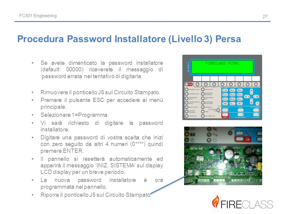 Procedura Password Installatore (Livello 3) Persa