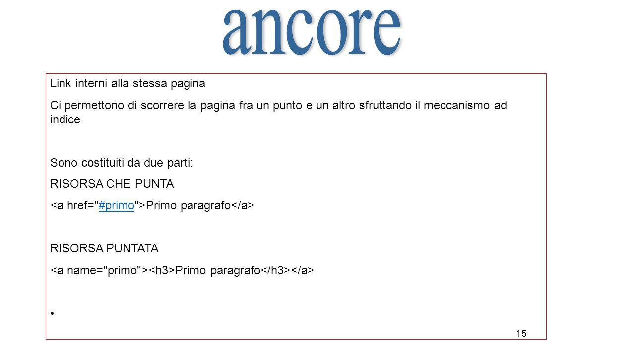 ancore Link interni alla stessa pagina