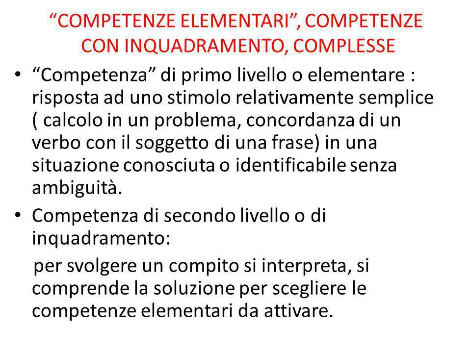 COMPETENZE ELEMENTARI , COMPETENZE CON INQUADRAMENTO, COMPLESSE