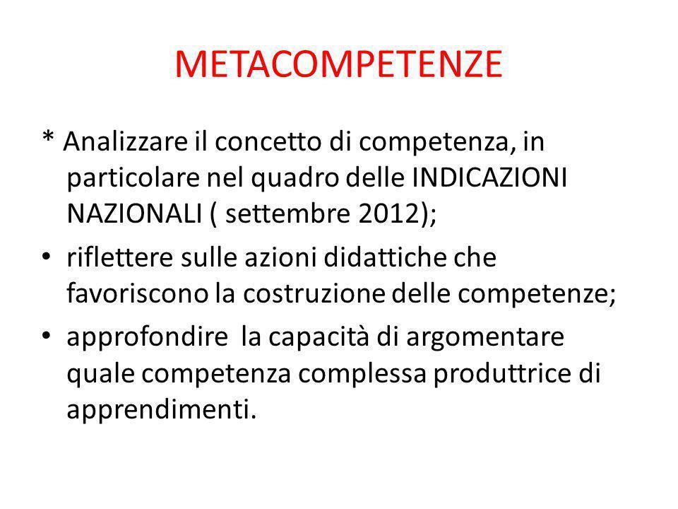 METACOMPETENZE * Analizzare il concetto di competenza, in particolare nel quadro delle INDICAZIONI NAZIONALI ( settembre 2012);