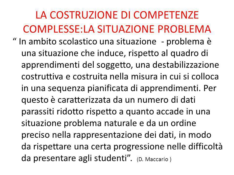 LA COSTRUZIONE DI COMPETENZE COMPLESSE:LA SITUAZIONE PROBLEMA