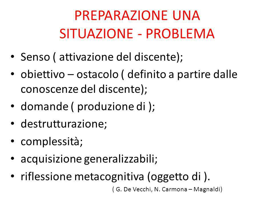 PREPARAZIONE UNA SITUAZIONE - PROBLEMA