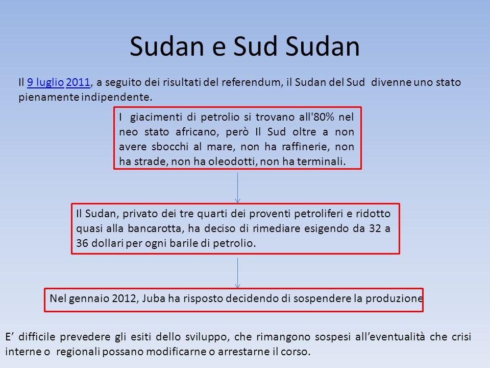 Sudan e Sud Sudan Il 9 luglio 2011, a seguito dei risultati del referendum, il Sudan del Sud divenne uno stato pienamente indipendente.