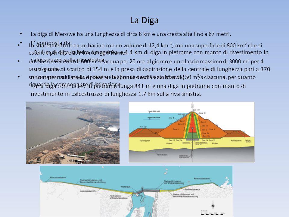 La Diga La diga di Merowe ha una lunghezza di circa 8 km e una cresta alta fino a 67 metri. E' composta da: