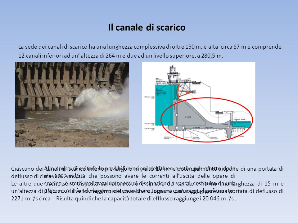 Il canale di scarico La sede dei canali di scarico ha una lunghezza complessiva di oltre 150 m, è alta circa 67 m e comprende.