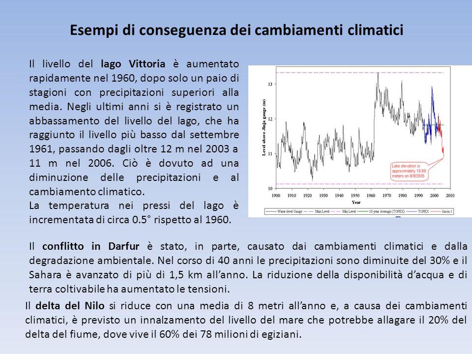 Esempi di conseguenza dei cambiamenti climatici