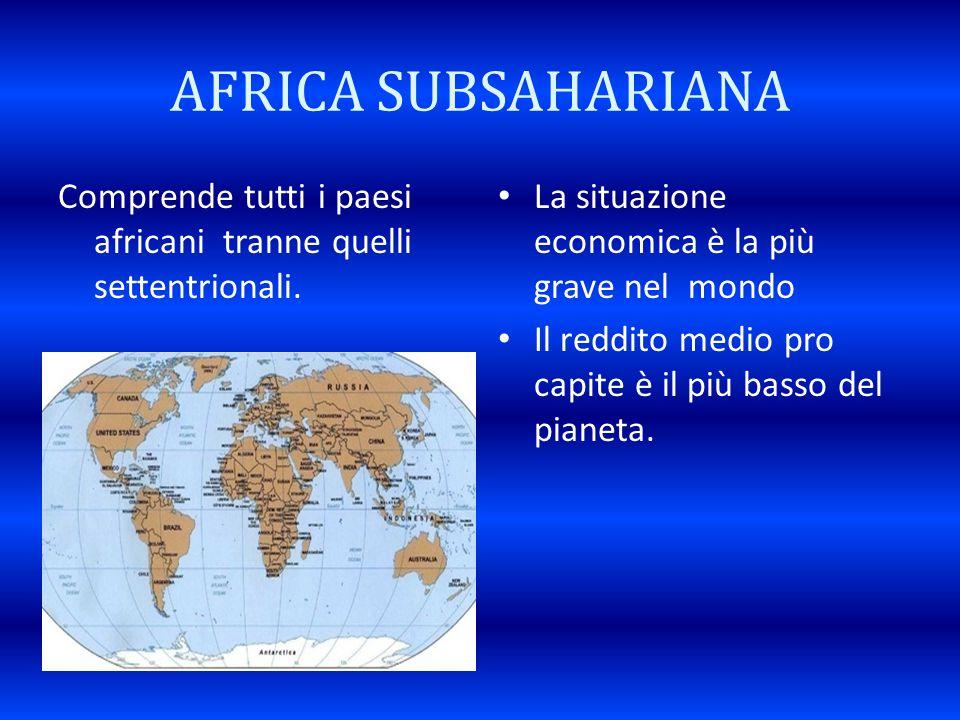 AFRICA SUBSAHARIANA Comprende tutti i paesi africani tranne quelli settentrionali. La situazione economica è la più grave nel mondo.
