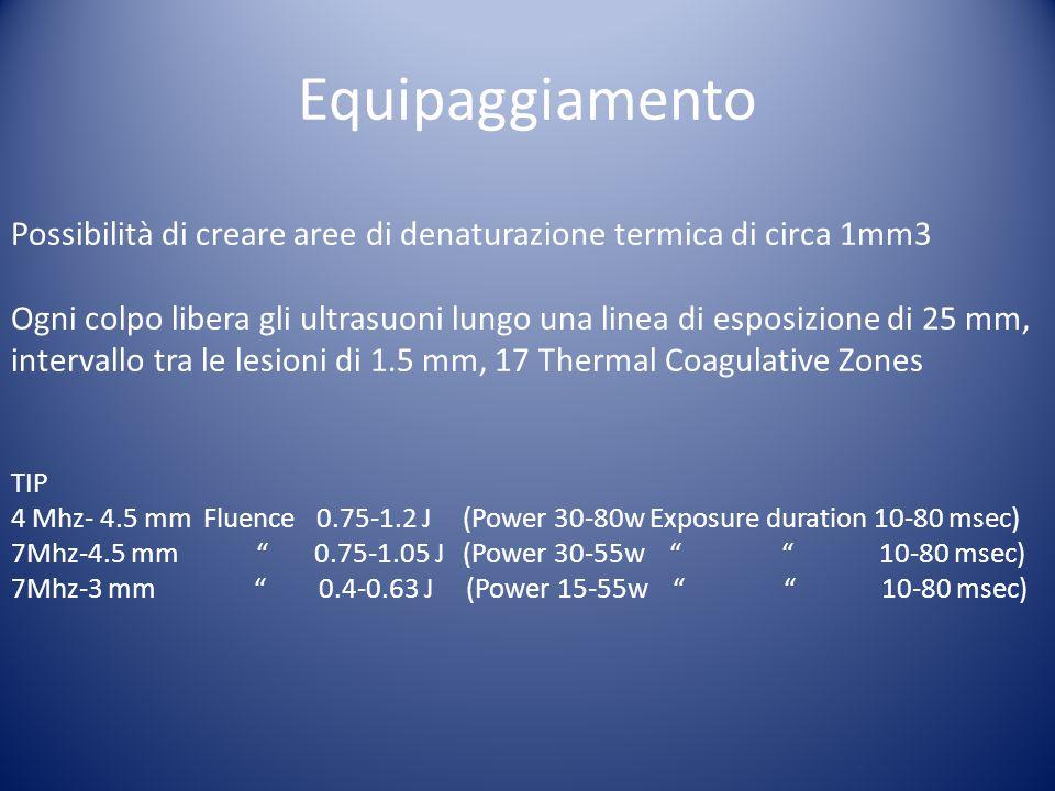 Equipaggiamento Possibilità di creare aree di denaturazione termica di circa 1mm3.