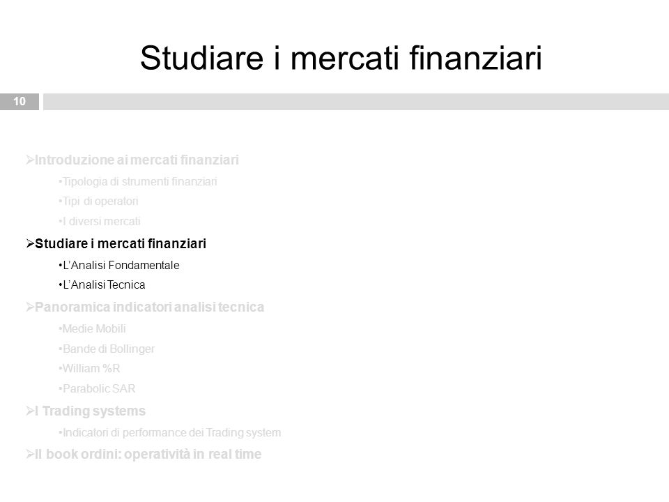 Studiare i mercati finanziari