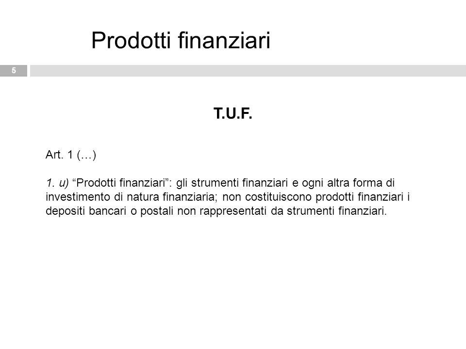 Prodotti finanziari T.U.F. Art. 1 (…)