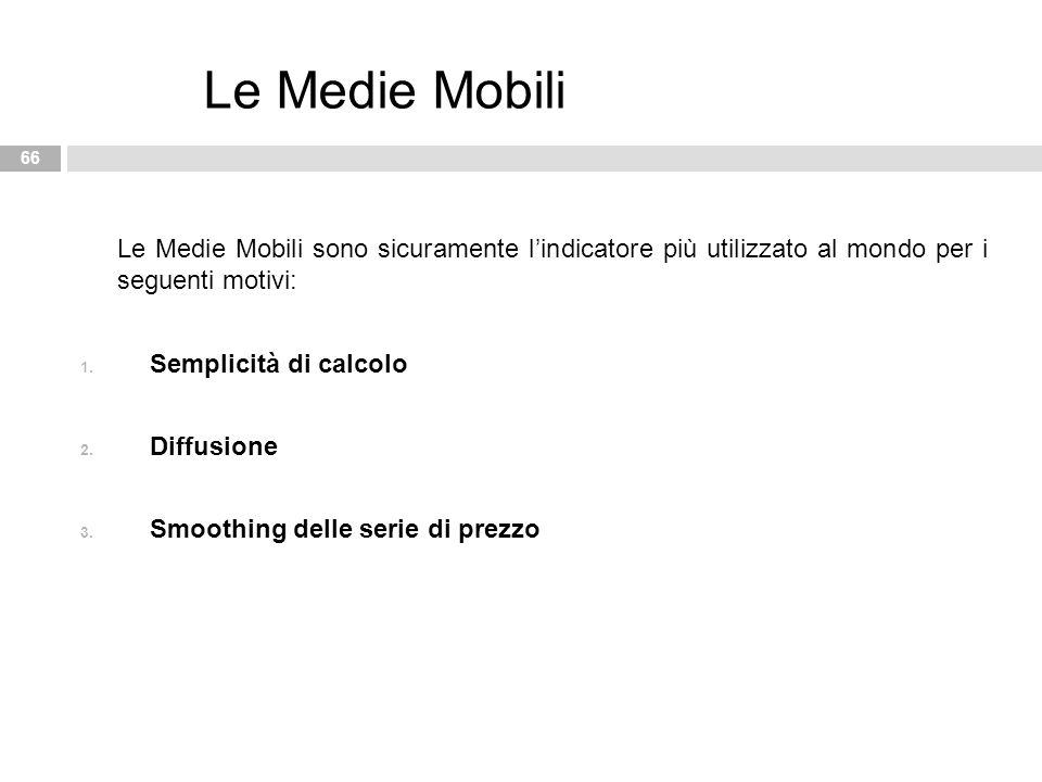 Le Medie Mobili Le Medie Mobili sono sicuramente l'indicatore più utilizzato al mondo per i seguenti motivi:
