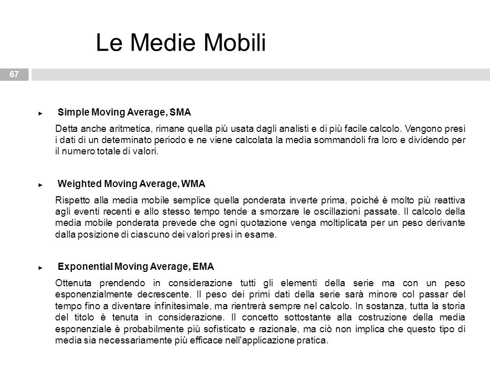 Le Medie Mobili Simple Moving Average, SMA