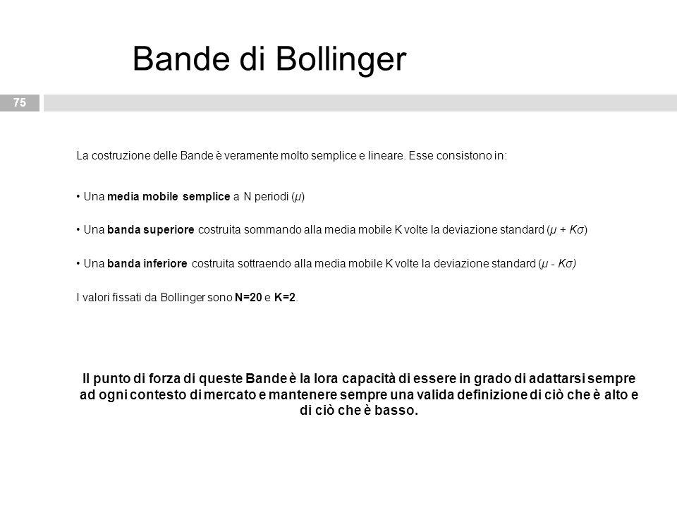 Bande di Bollinger La costruzione delle Bande è veramente molto semplice e lineare. Esse consistono in: