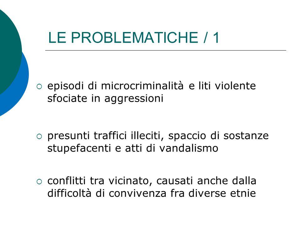 LE PROBLEMATICHE / 1 episodi di microcriminalità e liti violente sfociate in aggressioni.