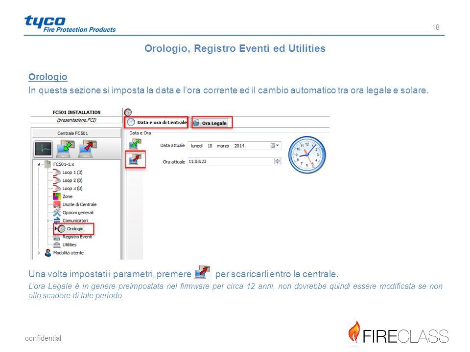 Orologio, Registro Eventi ed Utilities
