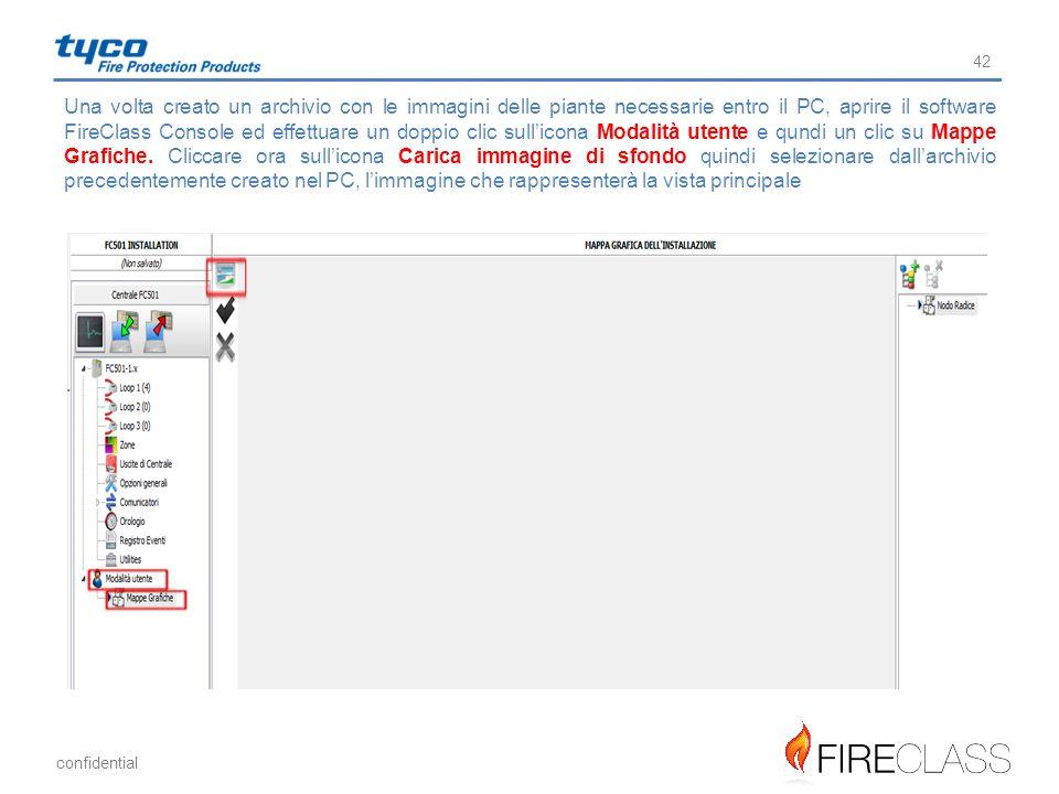 Una volta creato un archivio con le immagini delle piante necessarie entro il PC, aprire il software FireClass Console ed effettuare un doppio clic sull'icona Modalità utente e qundi un clic su Mappe Grafiche.