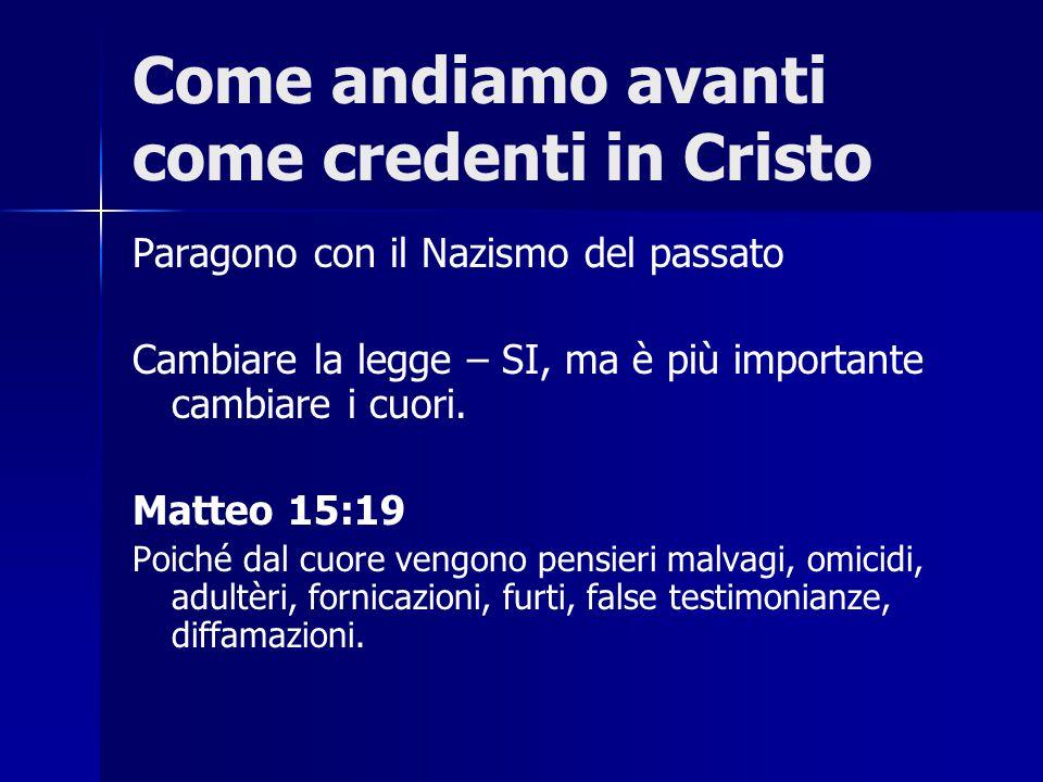 Come andiamo avanti come credenti in Cristo