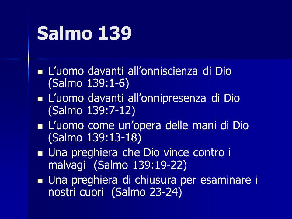 Salmo 139 L'uomo davanti all'onniscienza di Dio (Salmo 139:1-6)