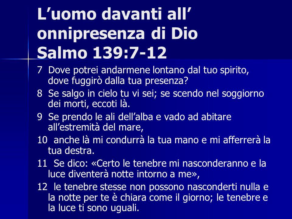 L'uomo davanti all' onnipresenza di Dio Salmo 139:7-12