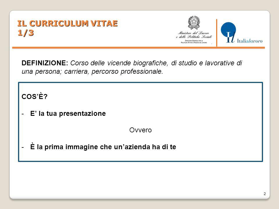 IL CURRICULUM VITAE 1/3. DEFINIZIONE: Corso delle vicende biografiche, di studio e lavorative di una persona; carriera, percorso professionale.