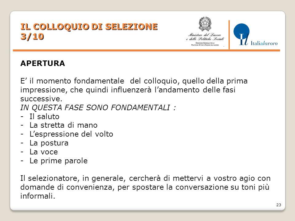 IL COLLOQUIO DI SELEZIONE 3/10