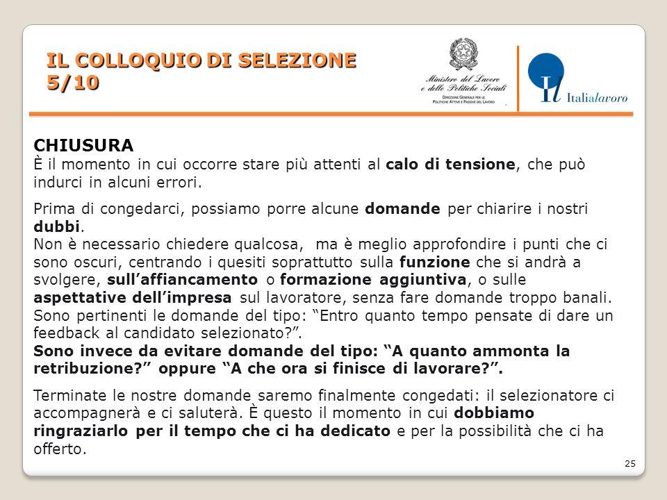 IL COLLOQUIO DI SELEZIONE 5/10