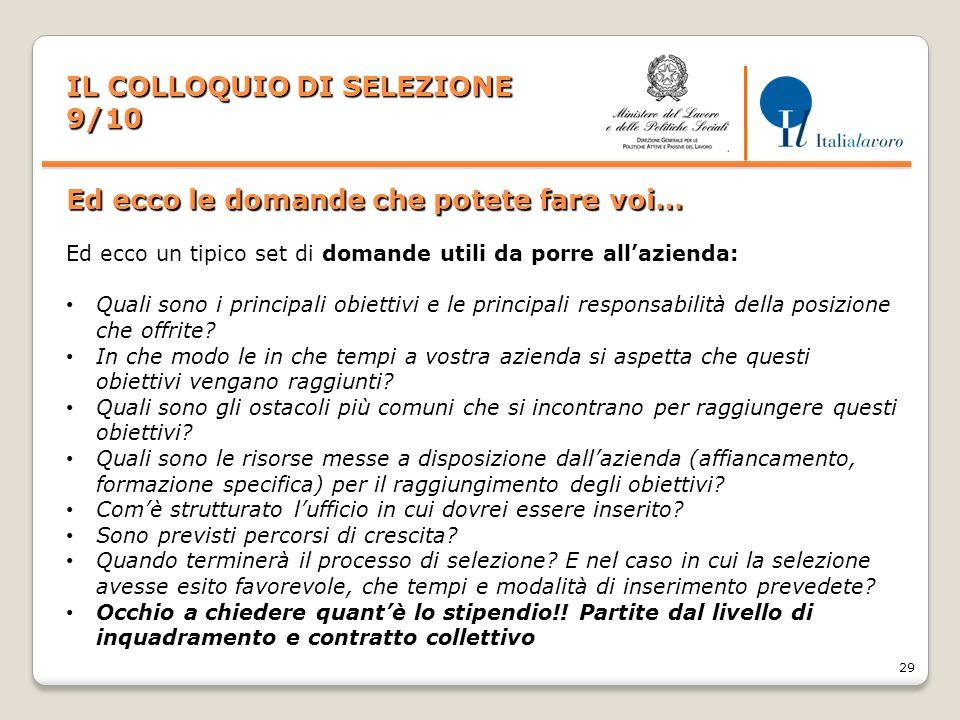 IL COLLOQUIO DI SELEZIONE 9/10