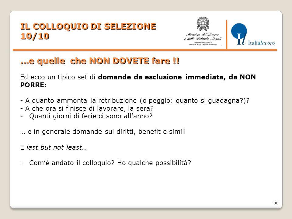 IL COLLOQUIO DI SELEZIONE 10/10