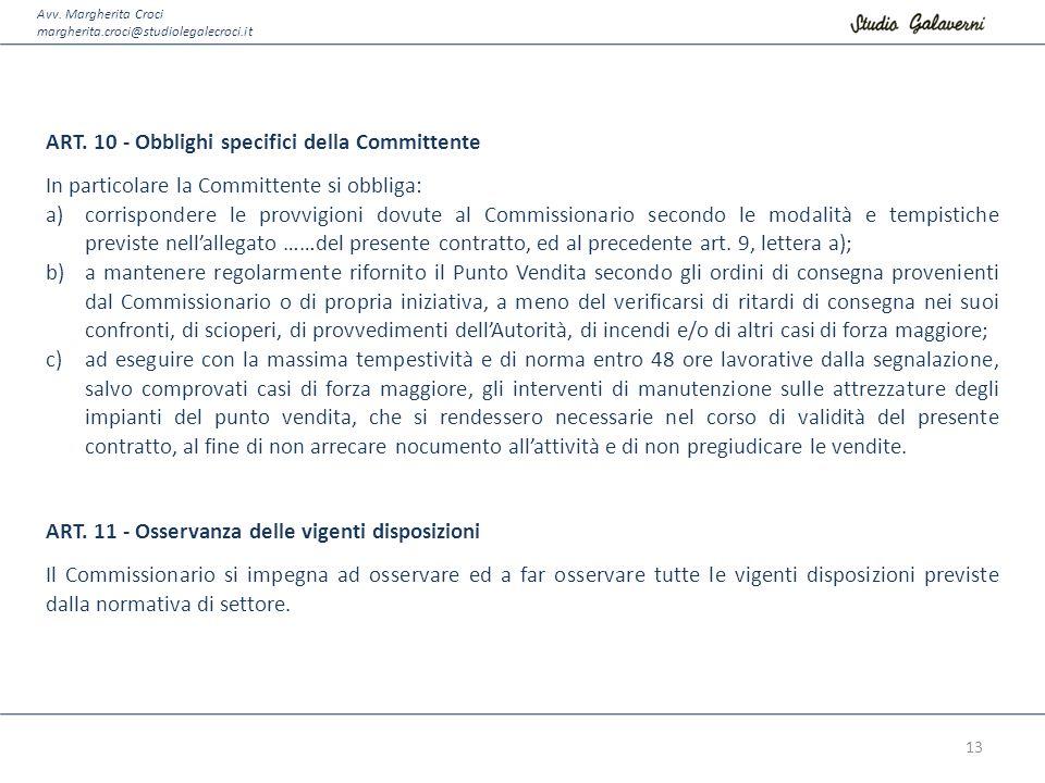 ART. 10 - Obblighi specifici della Committente