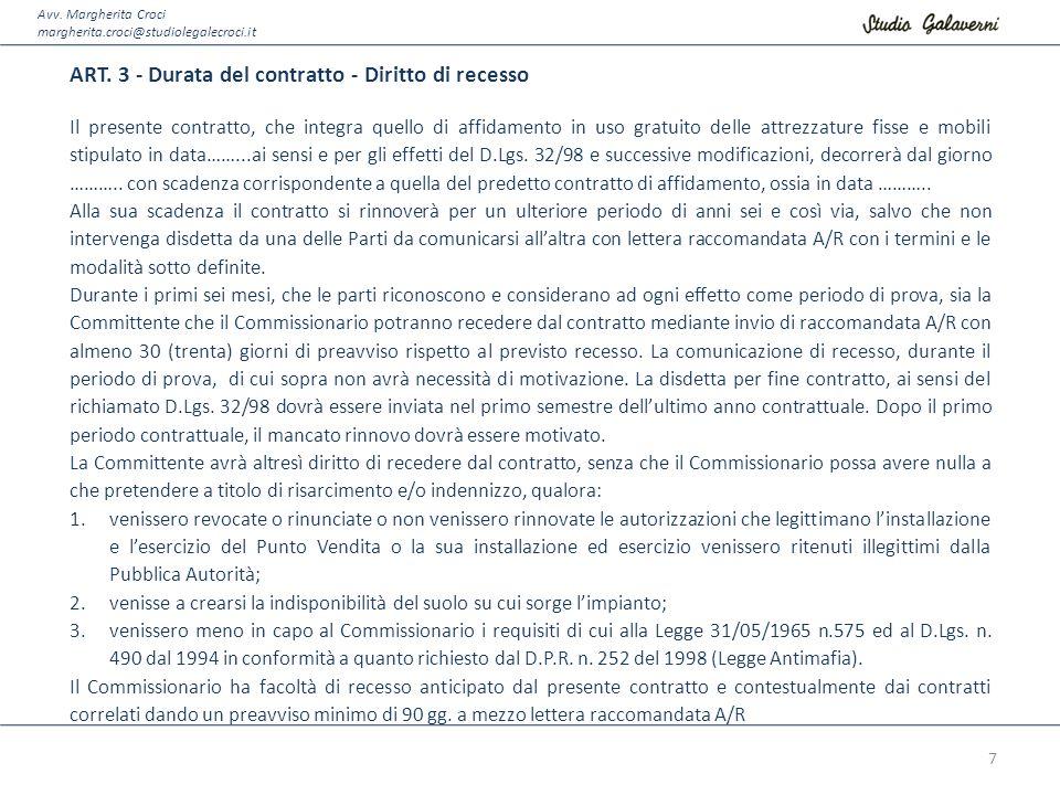ART. 3 - Durata del contratto - Diritto di recesso