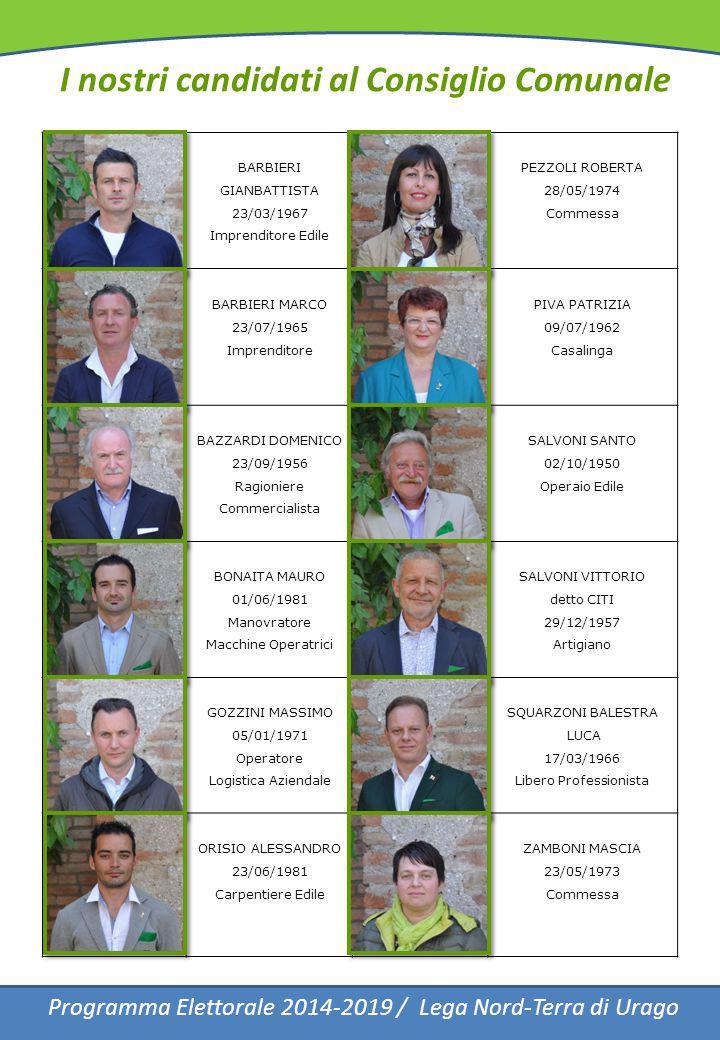 I nostri candidati al Consiglio Comunale