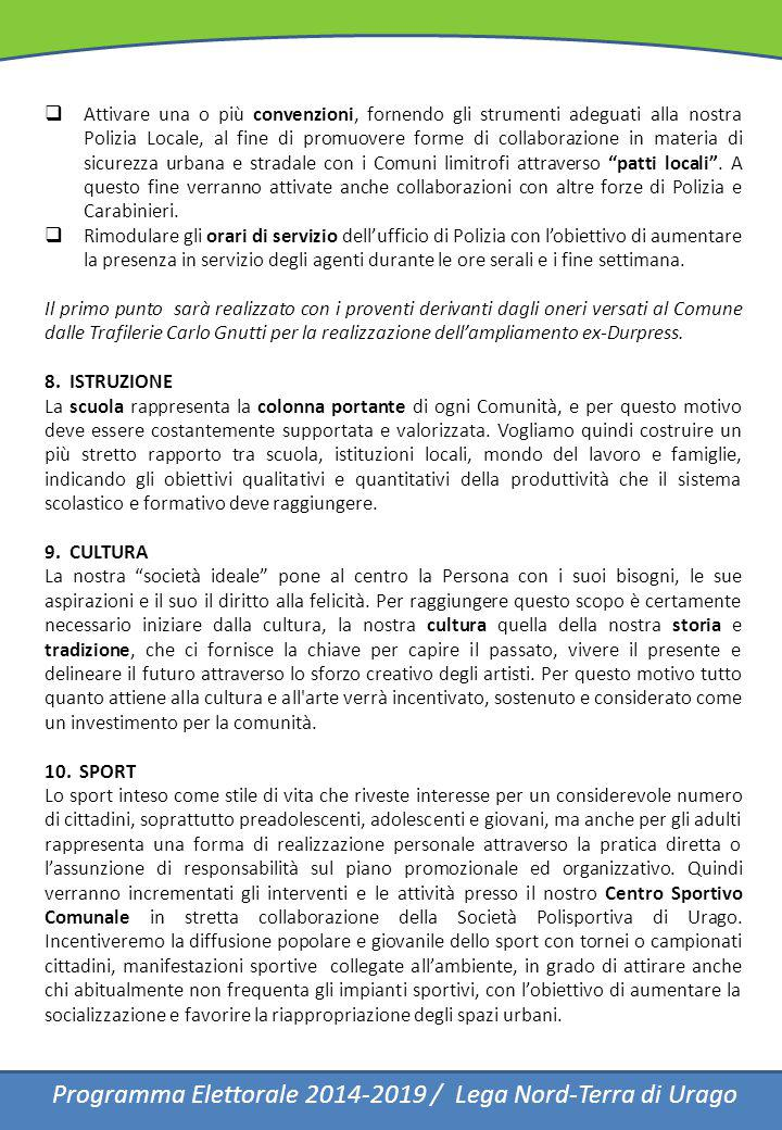 Programma Elettorale 2014-2019 / Lega Nord-Terra di Urago