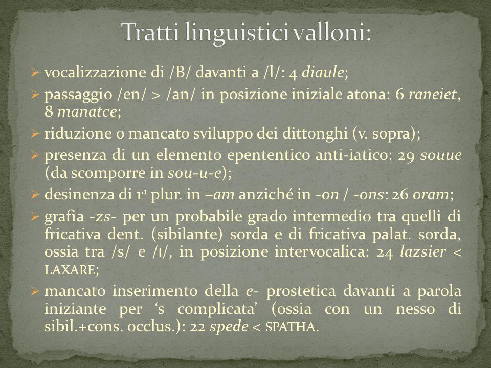 Tratti linguistici valloni: