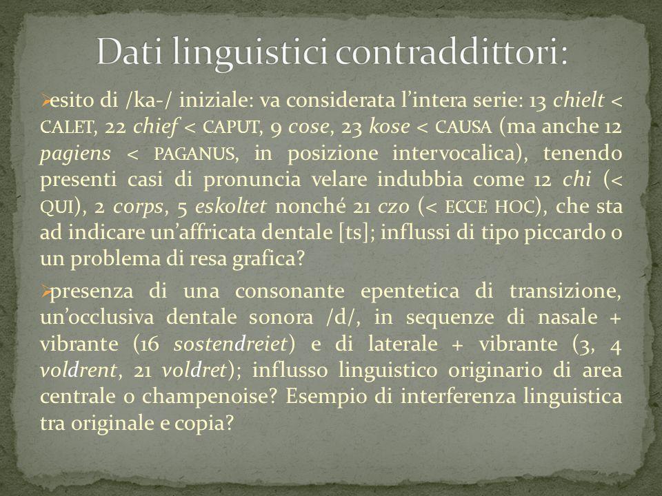 Dati linguistici contraddittori: