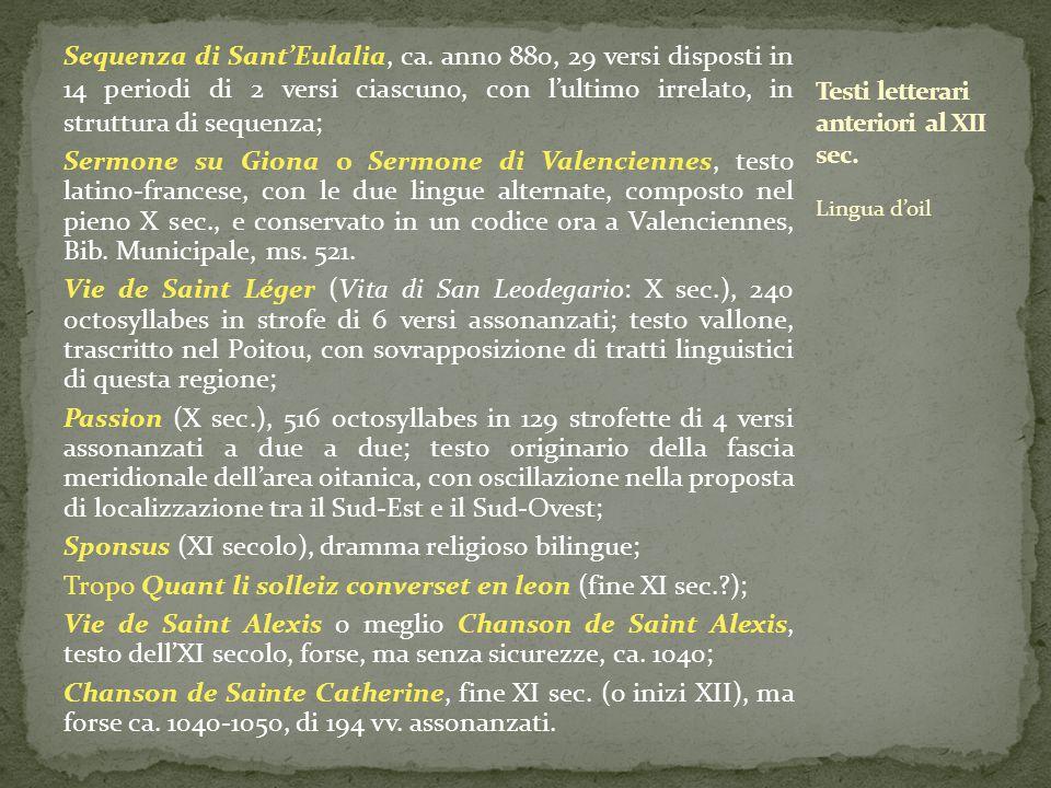 Testi letterari anteriori al XII sec.