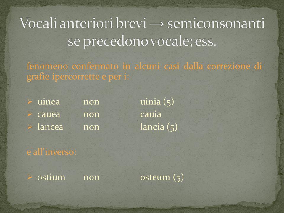 Vocali anteriori brevi → semiconsonanti se precedono vocale; ess.