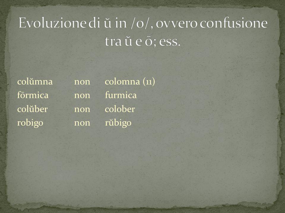 Evoluzione di ŭ in /o/, ovvero confusione tra ŭ e ō; ess.