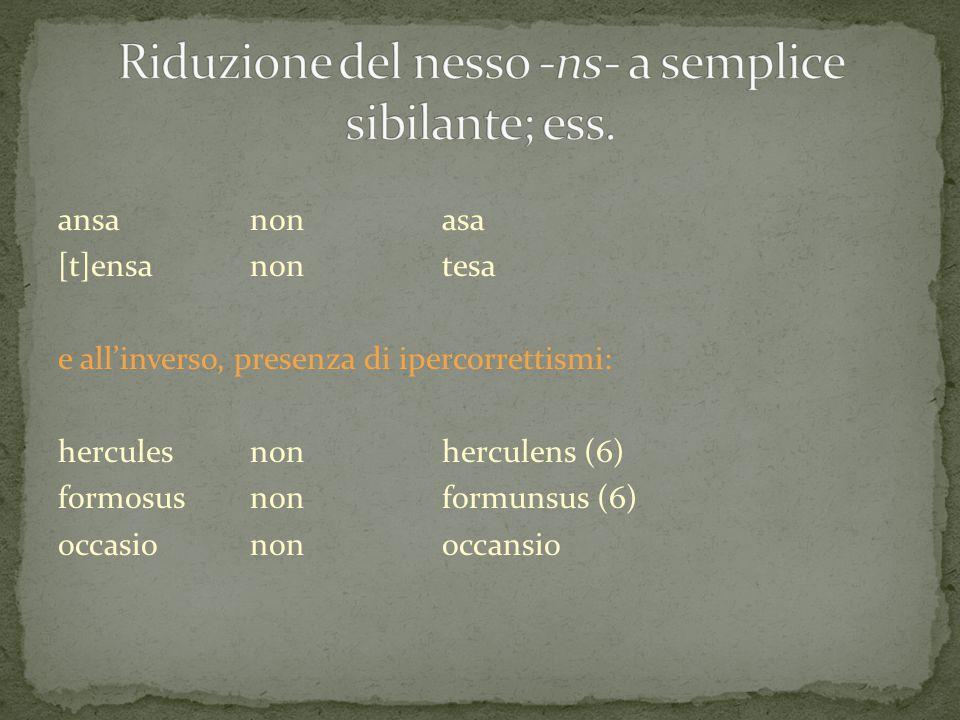 Riduzione del nesso -ns- a semplice sibilante; ess.