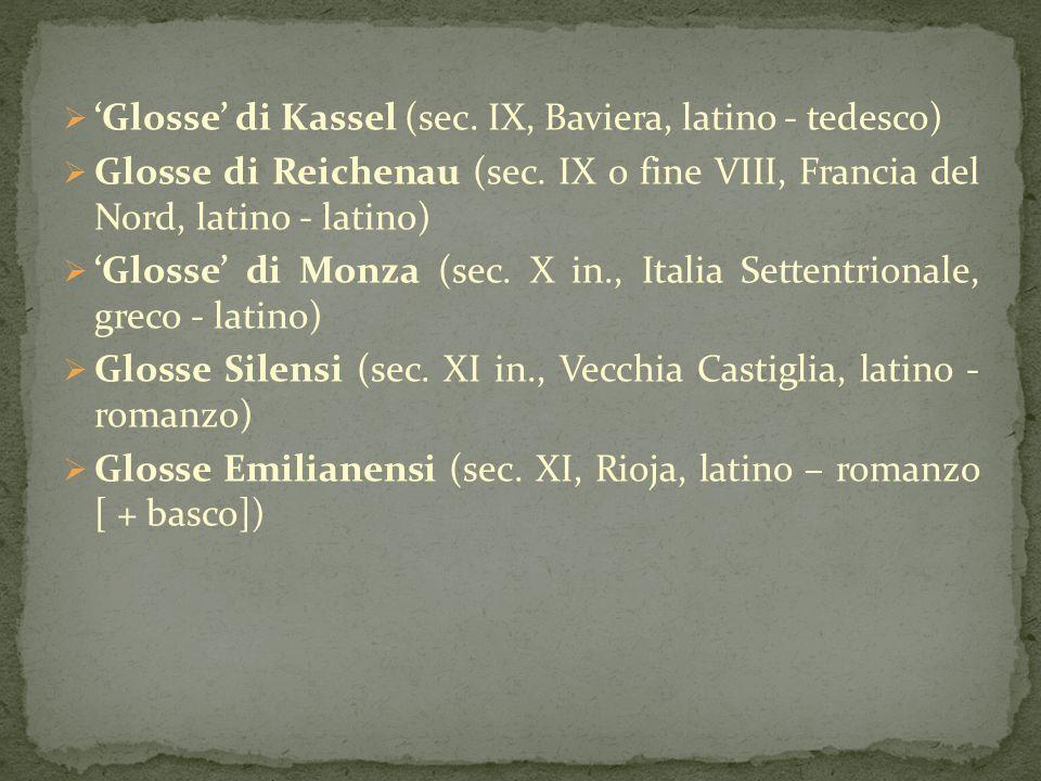 'Glosse' di Kassel (sec. IX, Baviera, latino - tedesco)