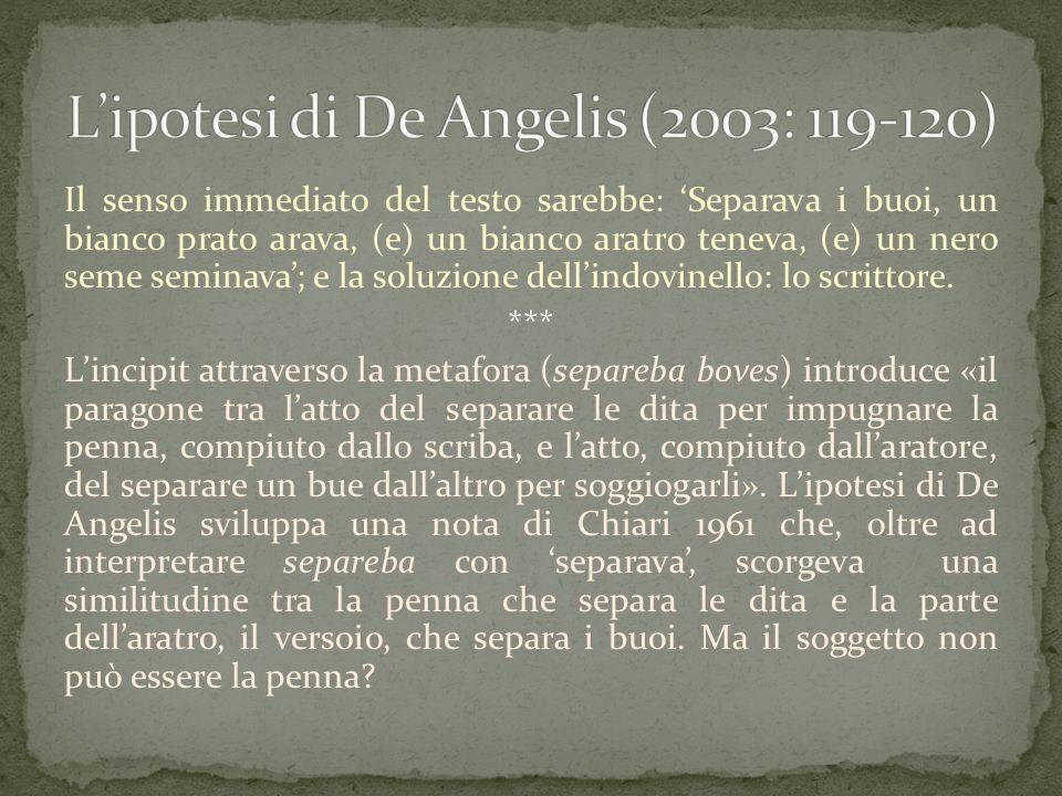 L'ipotesi di De Angelis (2003: 119-120)