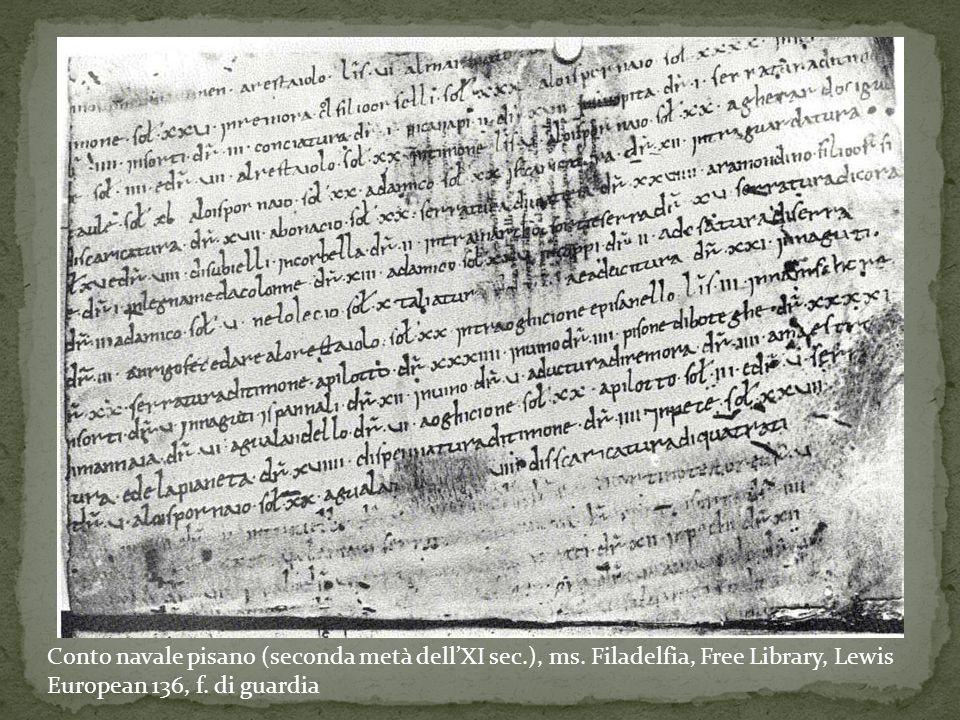 Conto navale pisano (seconda metà dell'XI sec. ), ms