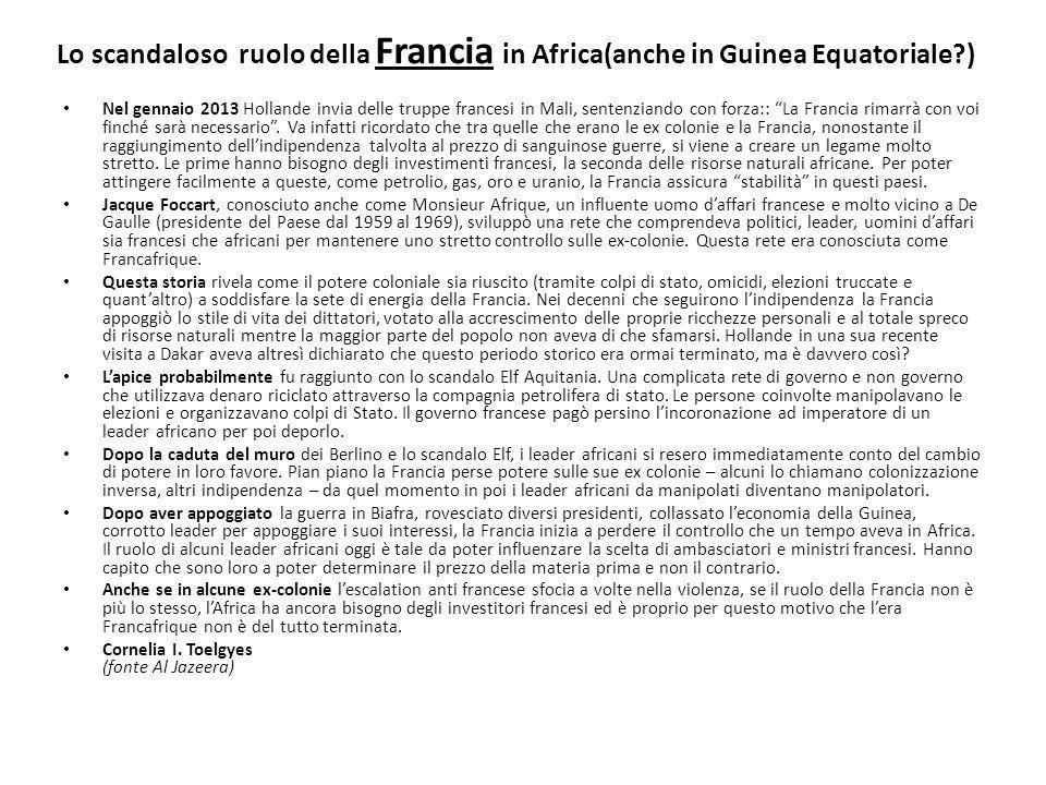 Lo scandaloso ruolo della Francia in Africa(anche in Guinea Equatoriale )