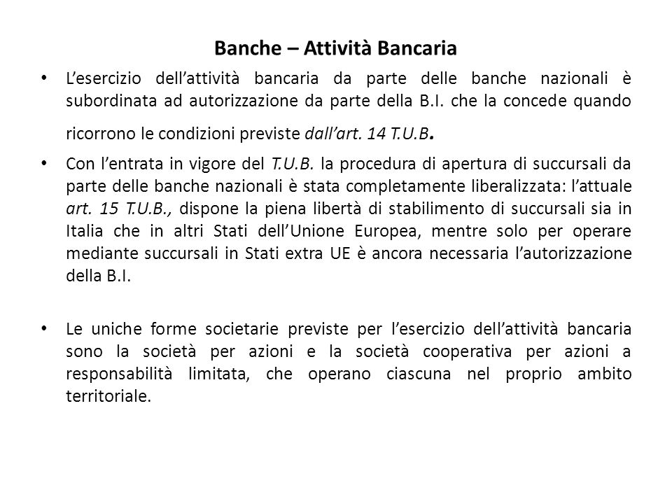 Banche – Attività Bancaria