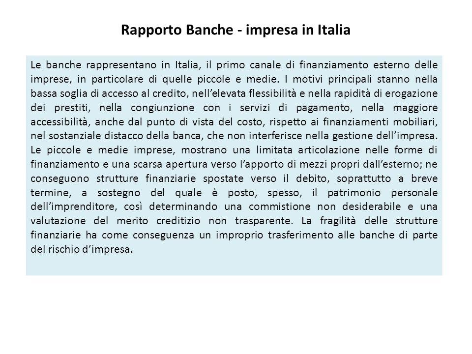 Rapporto Banche - impresa in Italia